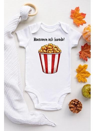 Happy Onesie Co Popcorn Çıtçıtlı Bebek Body Beyaz
